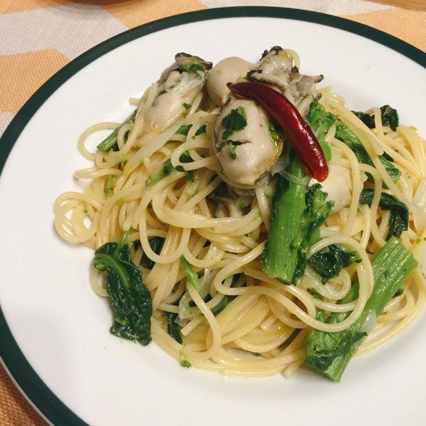 モニター様からのレシピ集「菜の花と長葱と牡蠣のペペロンチーノ」