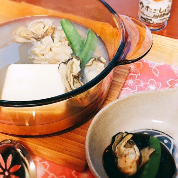 モニター様からのレシピ集「昆布だし湯豆腐と牡蛎と舞茸の甘味噌ダレかけ」